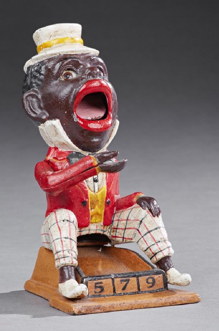 """Rare J. E. Stevens """"Jolly Negro"""" Cast Iron Counter"""