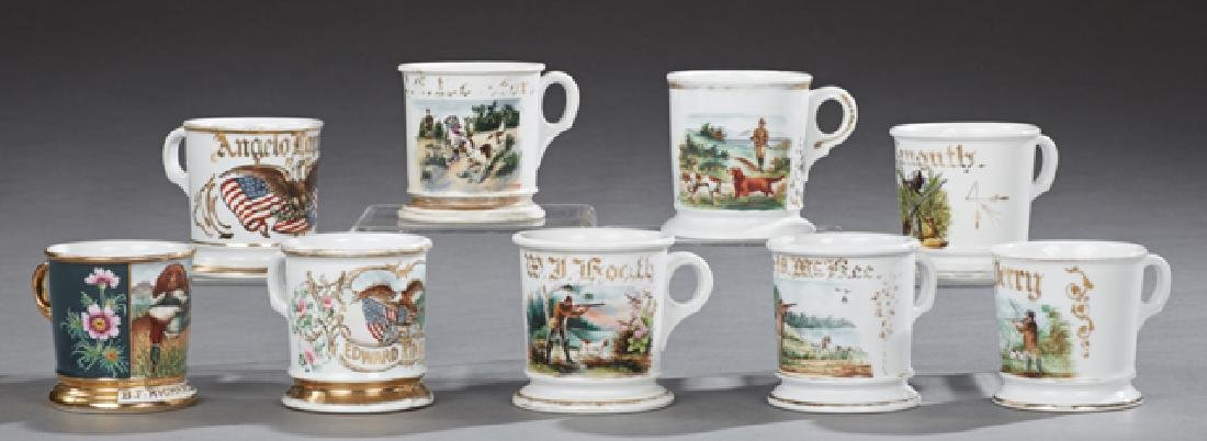 Group of Nine Porcelain Shaving Mugs, 19th c., with