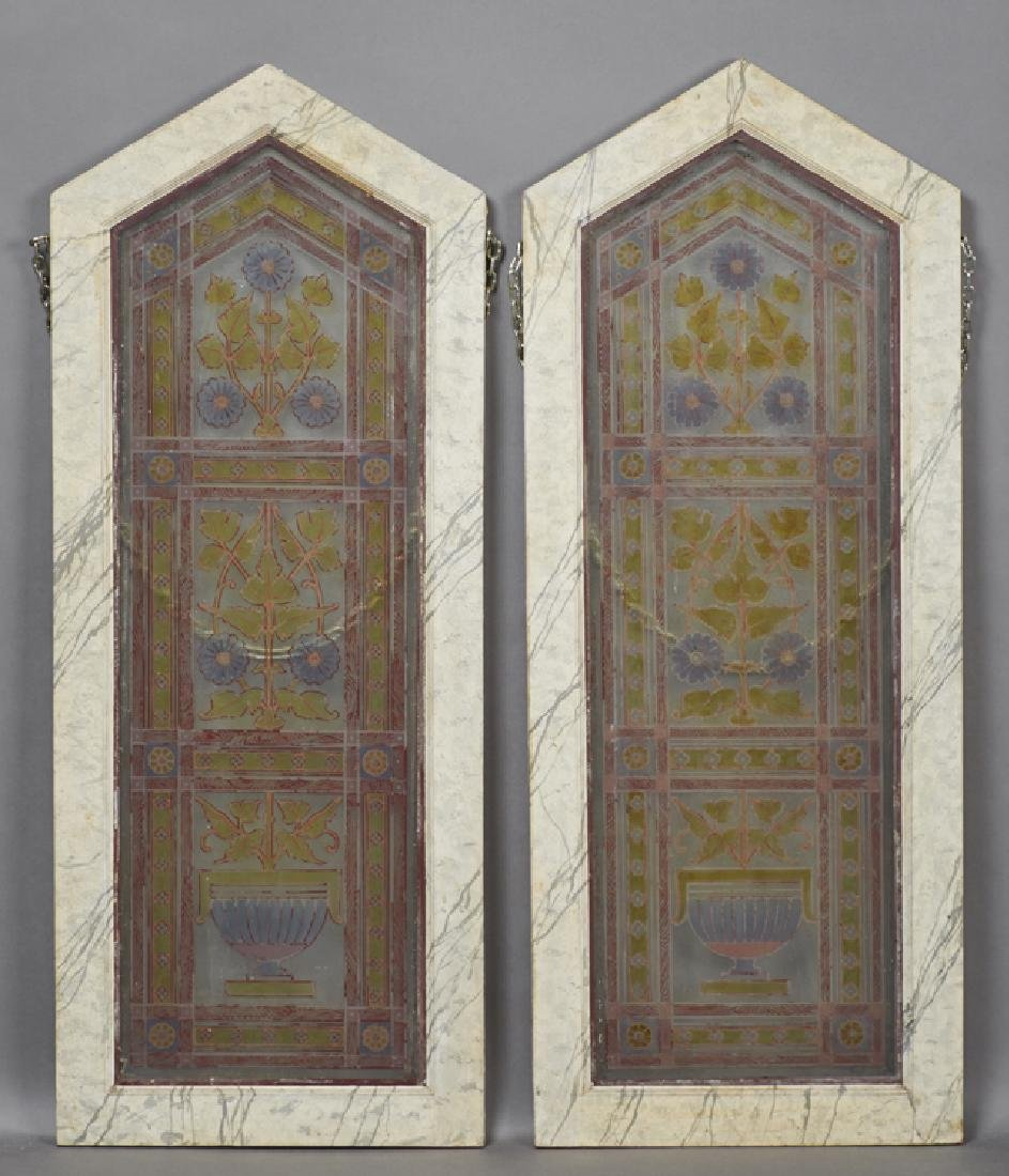 Pair of Painted and Fired Glass Windows, 19th c., of