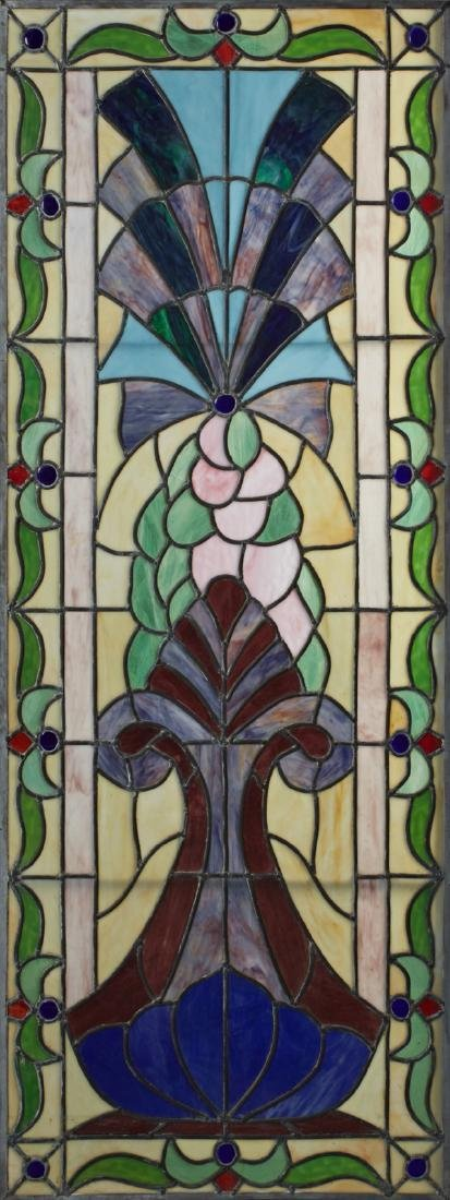 Victorian Style Leaded Slag Glass Window, 20th c.,