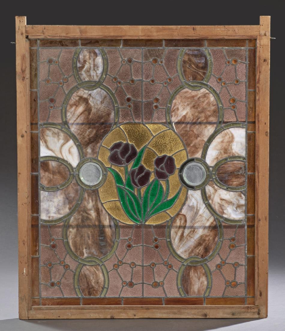 American Leaded Slag Glass Window, c. 1880, with