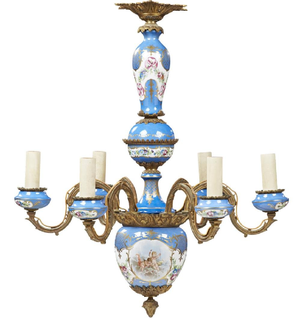 Sevres Style Porcelain and Bronze Six Light Chandelier,
