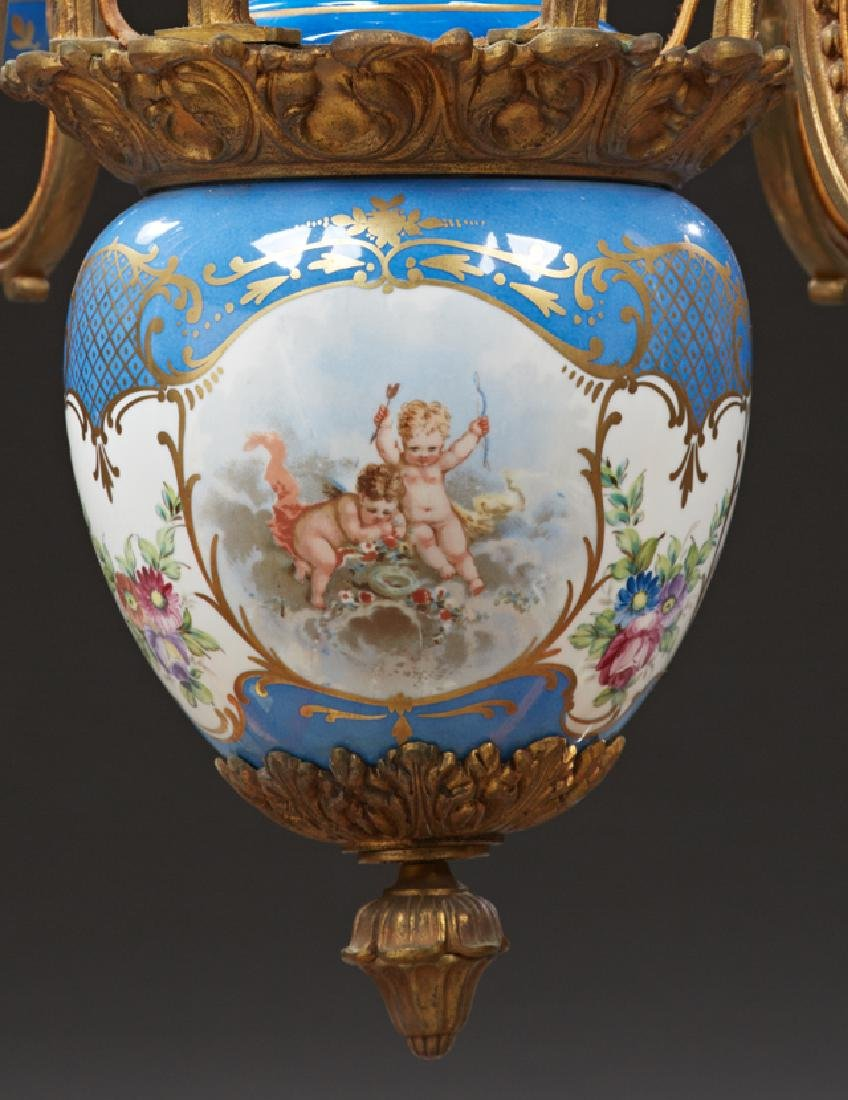 Sevres Style Porcelain and Bronze Six Light Chandelier, - 2