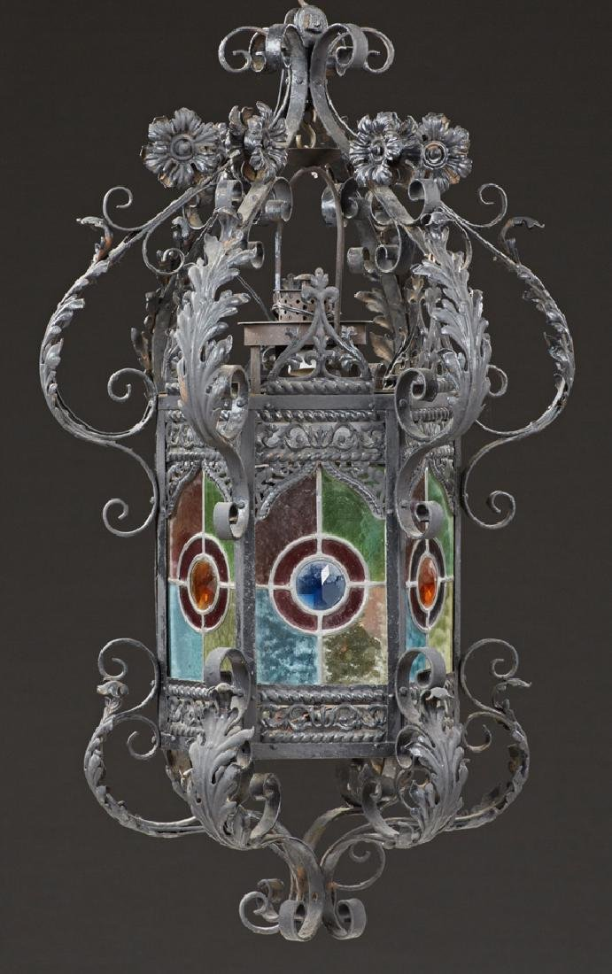 French Stained Glass Wrought Iron Hall Lantern, late