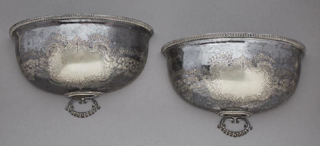 Pair of English Silverplated Wall Sconces, 19th c.,