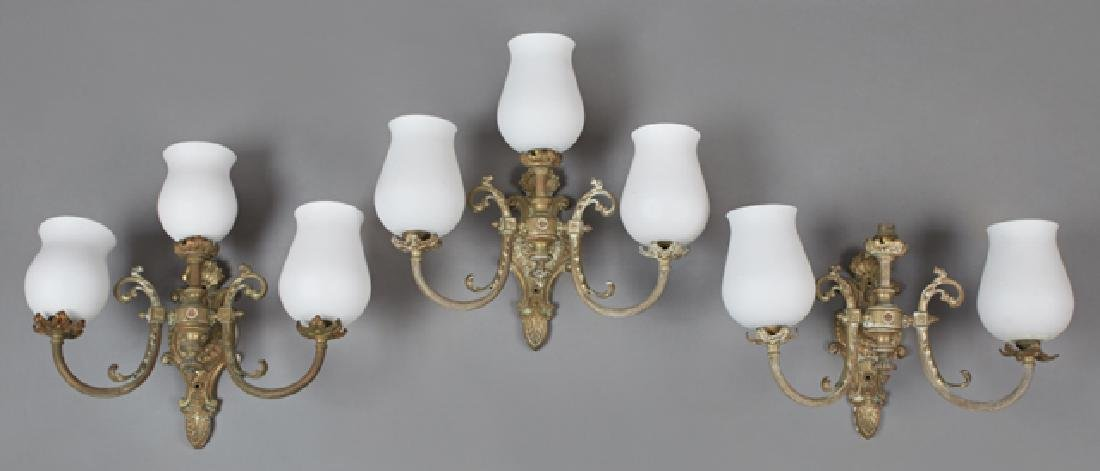 Set of Three French Gilt Brass Three Light Wall