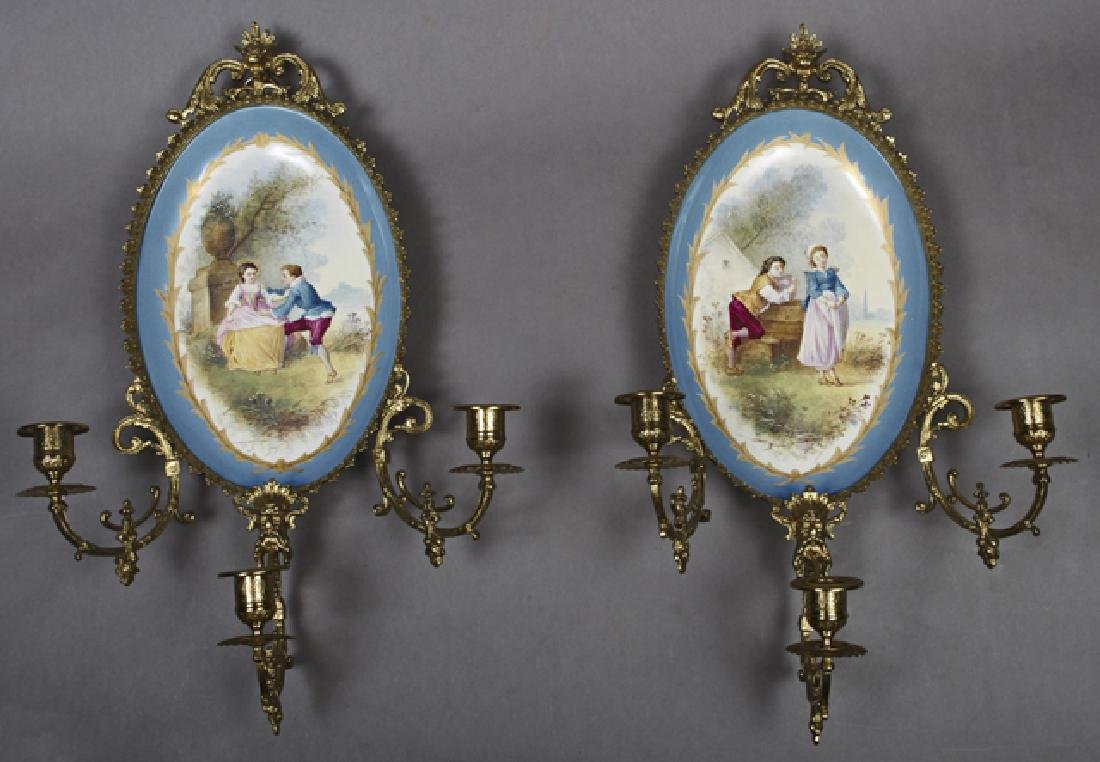 Pair of French Limoges Porcelain and Bronze Three Light
