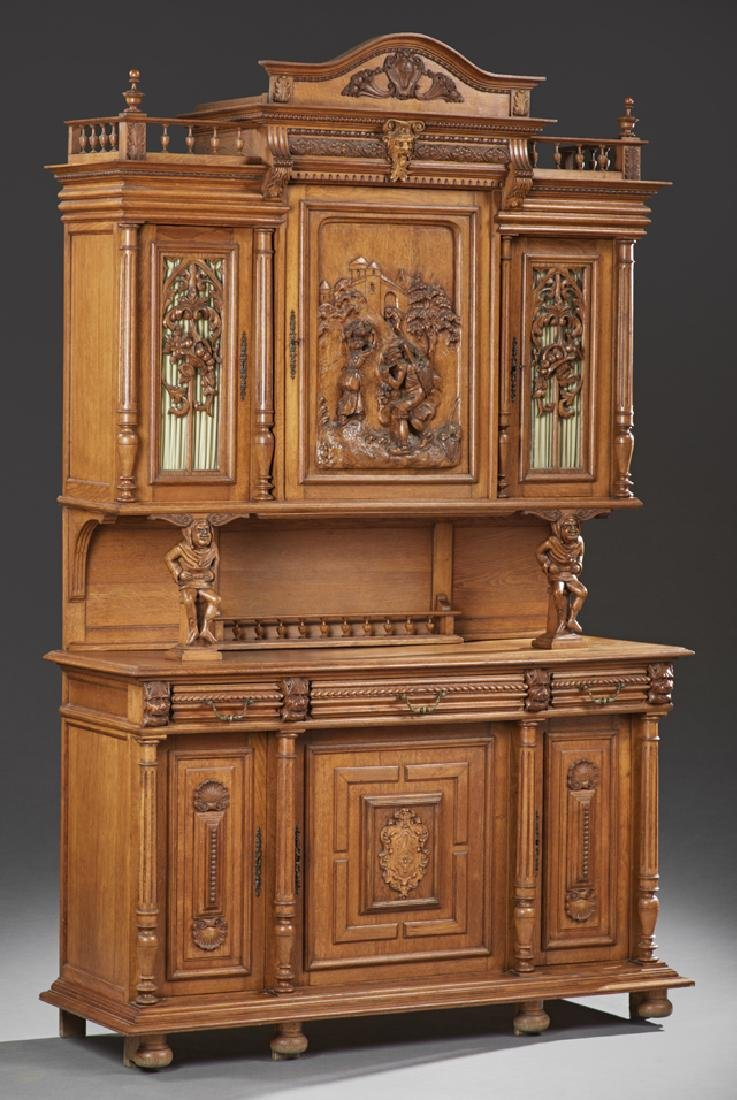 French Henri II Carved Oak Buffet a Deux Corps, early