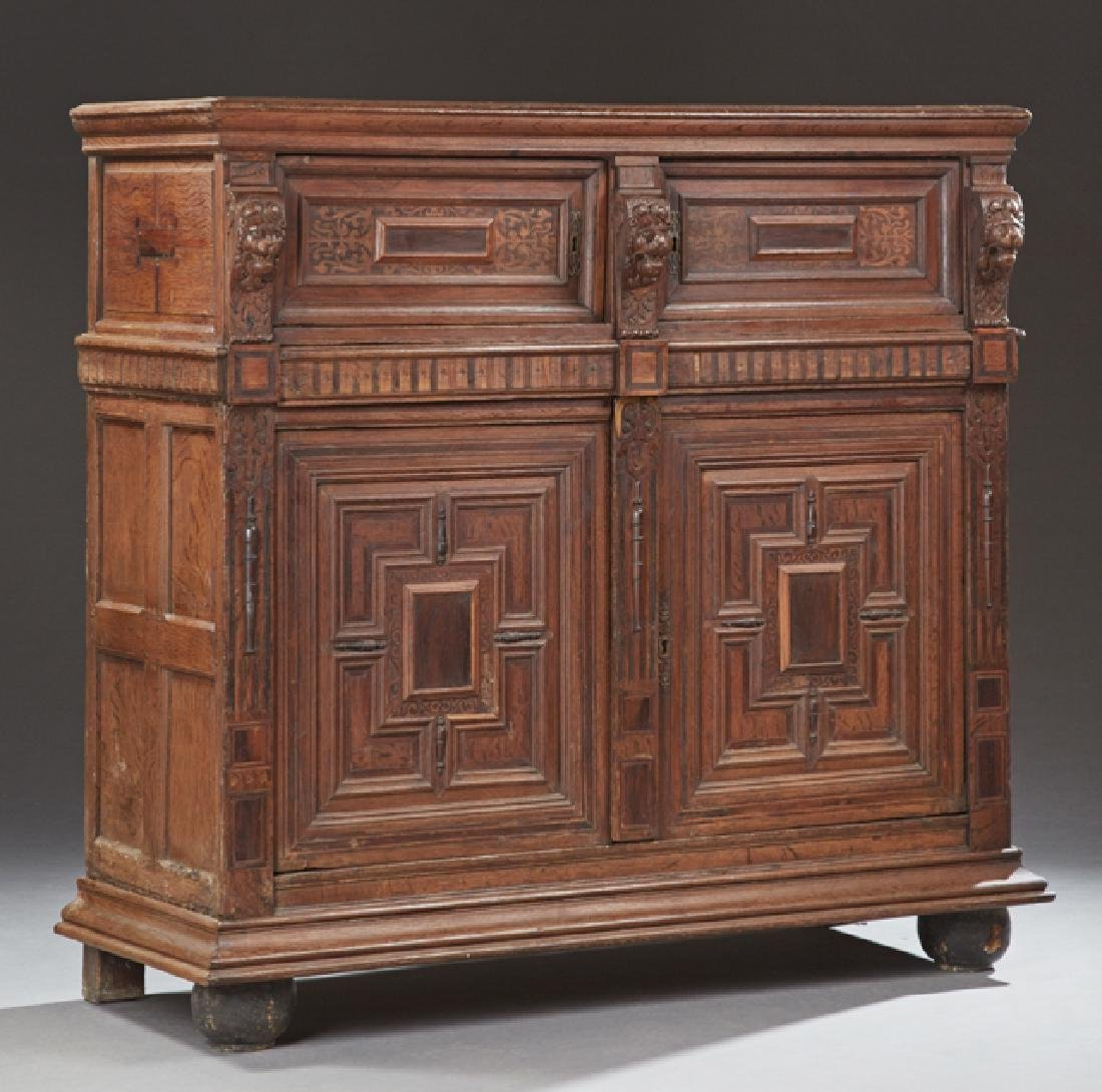 French Provincial Carved Inlaid Oak Renaissance Style