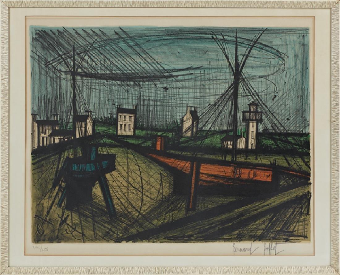 """Bernard Buffet (1928-1999), """"Harbor,"""" 20th c., print,"""
