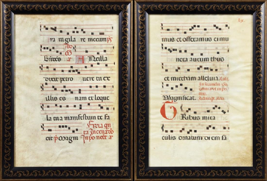 Pair of Hand Colored Illuminated Vellum Hymnal Sheets,
