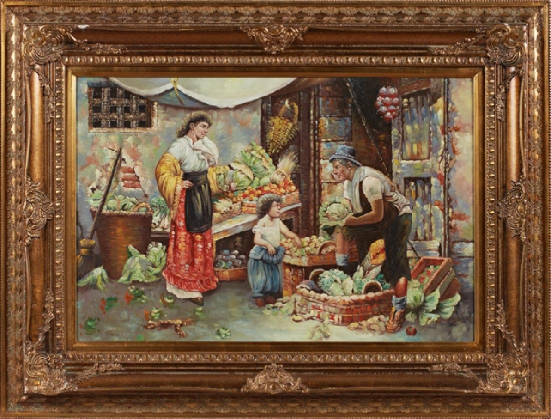 """Chinese School, """"Continental Market Scene,"""" late 20th"""