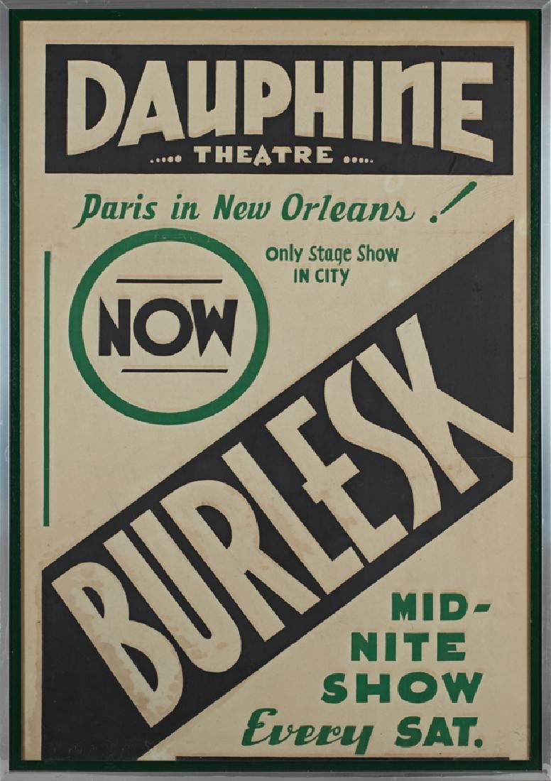 """Vintage Burlesk Poster, mid 20th c., for the """"Dauphine"""