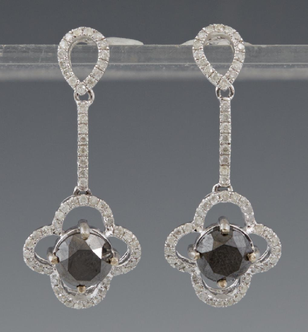Pair of 14K White Gold Pierced Pendant Earrings, with