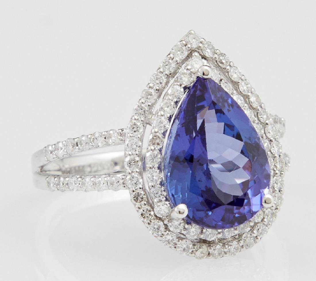 Lady's Platinum Dinner Ring, with a 4.84 carat pear