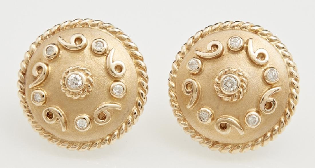 Pair of 14K Yellow Gold Circular Earrings, the domed