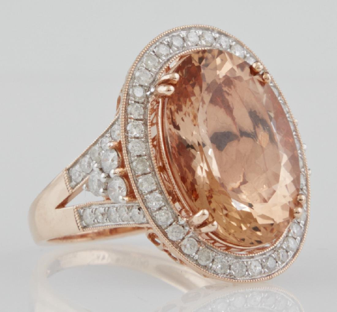 Lady's 14K Rose Gold Dinner Ring, with a 10.91 carat