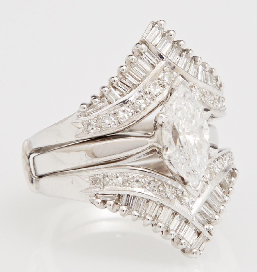 Lady's 14K White Gold Dinner Ring, with a central 1.17