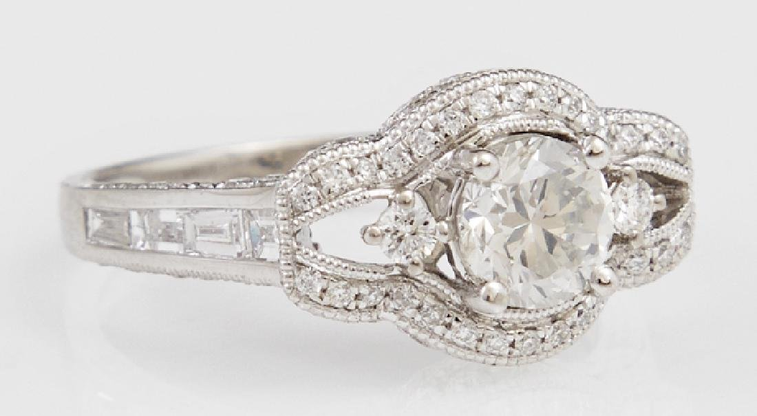 Lady's Platinum Dinner Ring, with a central .8 carat