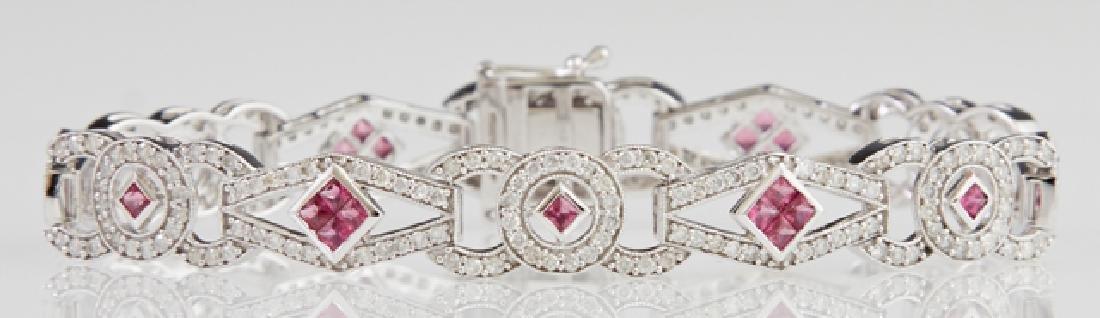 14K White Gold Art Deco Style Link Bracelet, each of