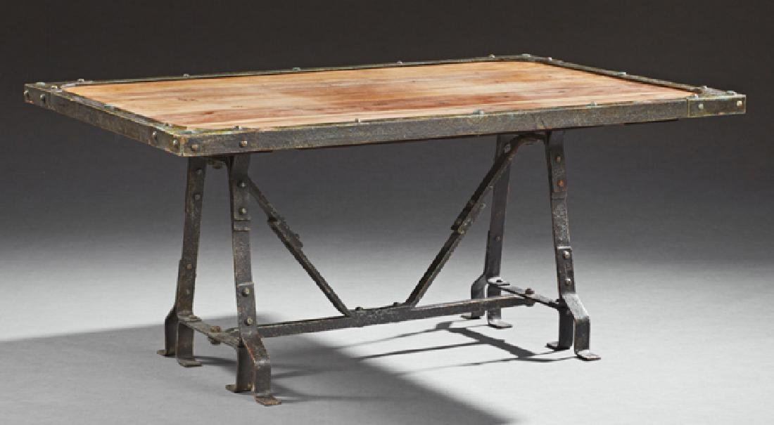 Contemporary Pine and Steel Coffee Table, 20th c., the