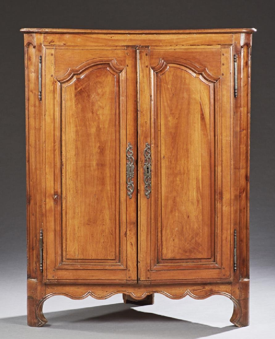 Louis XV Style Carved Cherry Corner Cabinet, 19th c.,