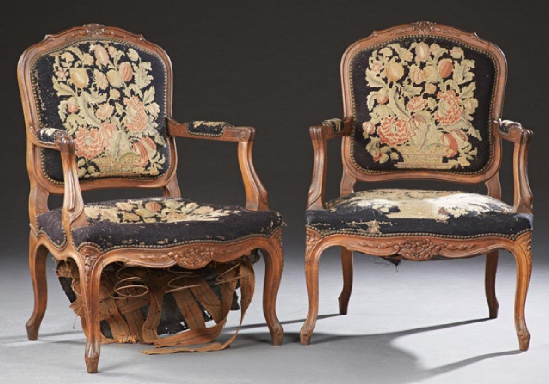 Pair of French Carved Beech Fauteuils, c. 1900, the