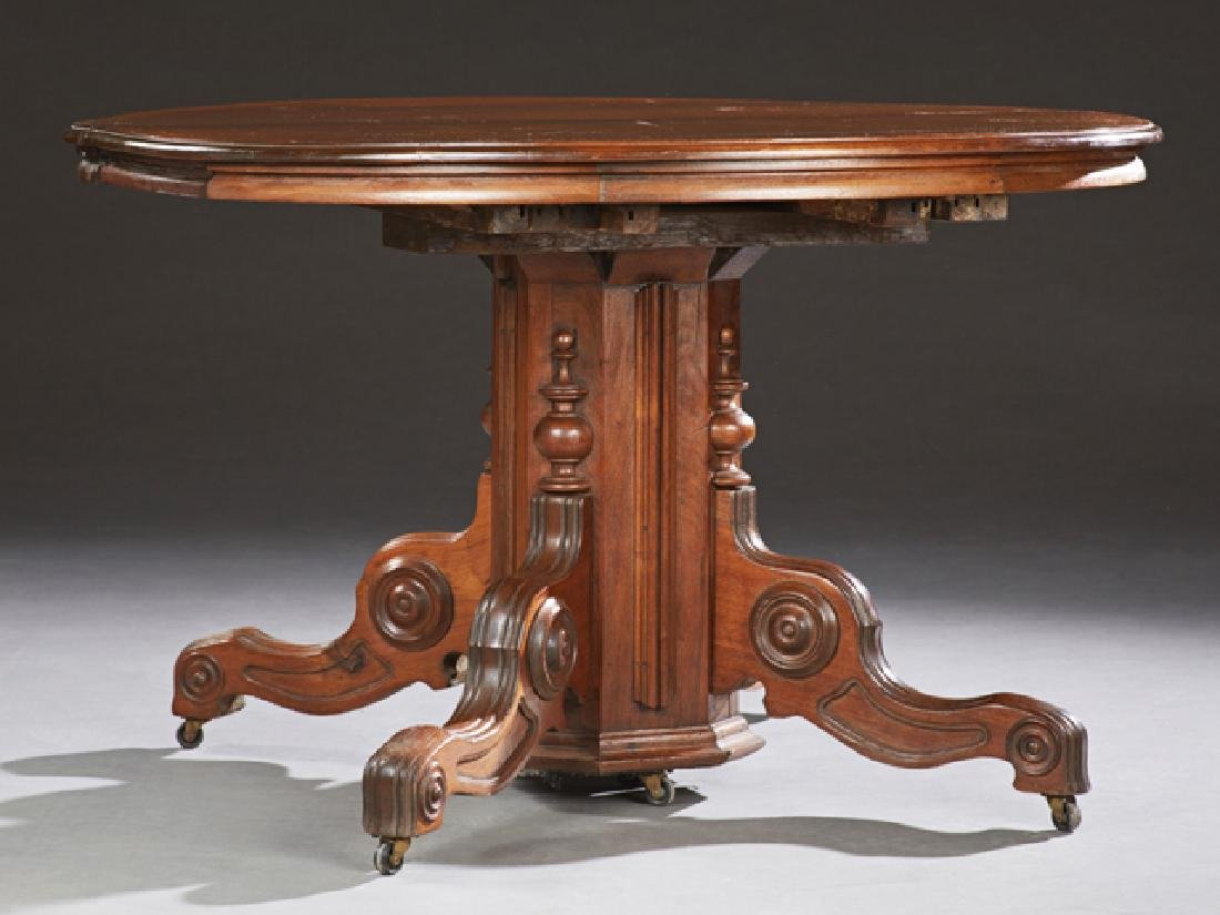 American Victorian Carved Mahogany Circular Dining