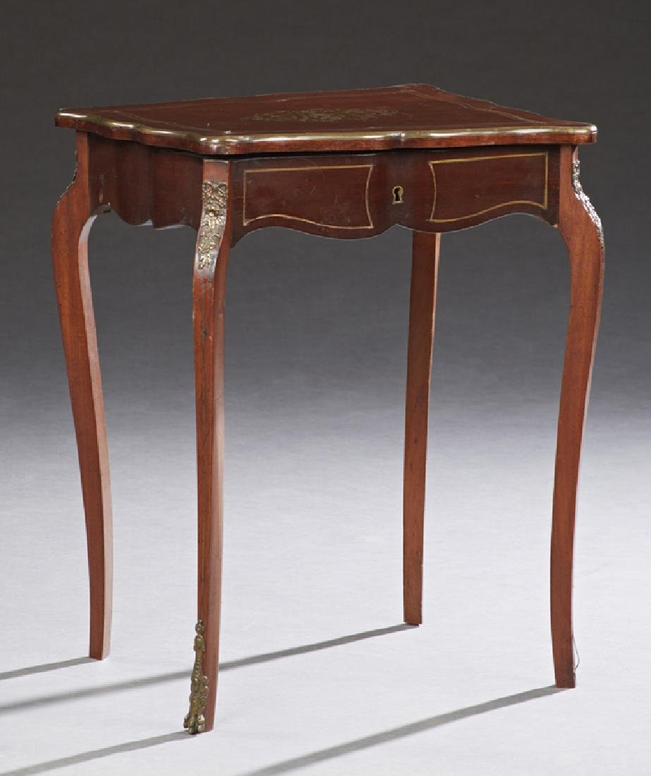 French Brass Inlaid Mahogany Louis XV Style Work Table,