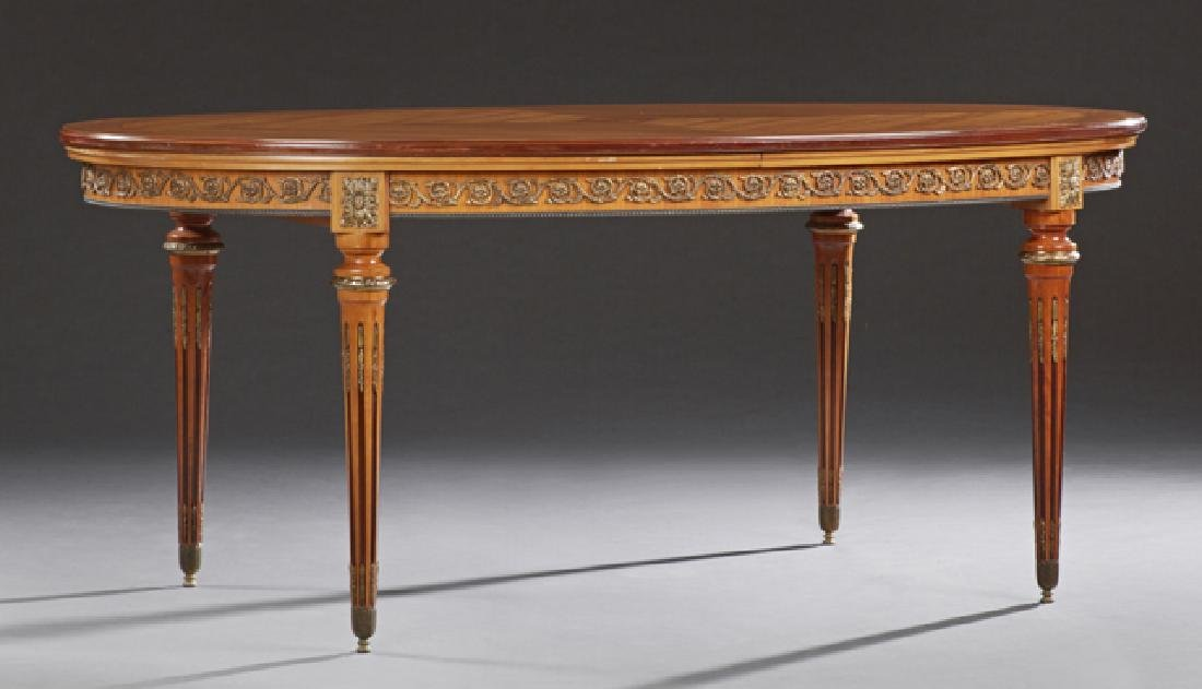 French Louis XVI Style Inlaid Carved Mahogany and