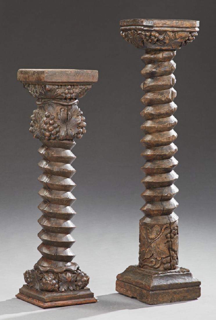 Two French Carved Oak Wine Press Screws