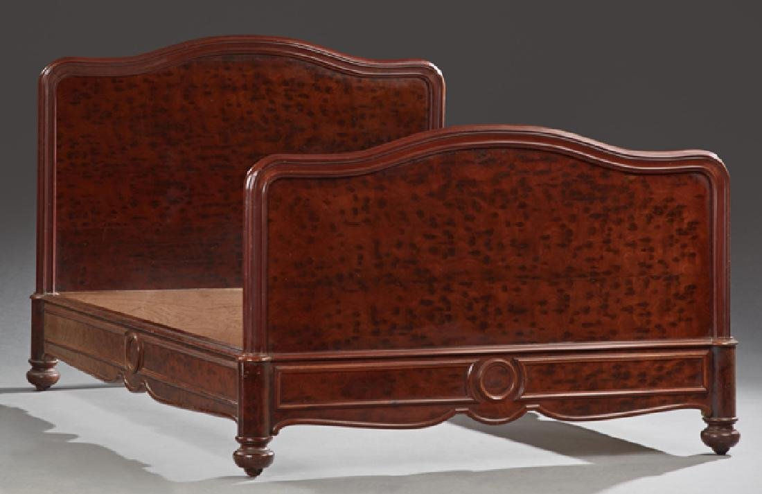 French Burled Walnut Double Bed, early 20th c., the
