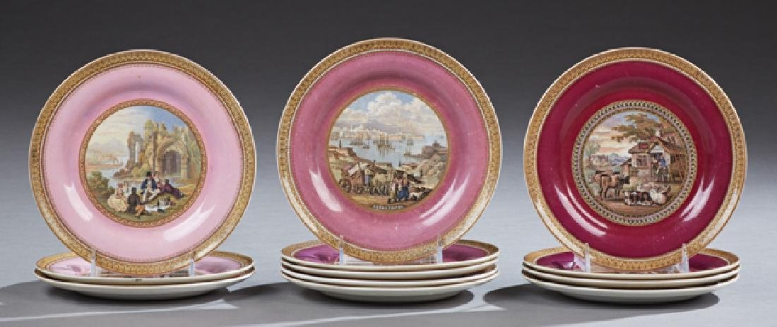 Group of Twelve English Ironstone Cabinet Plates, 19th