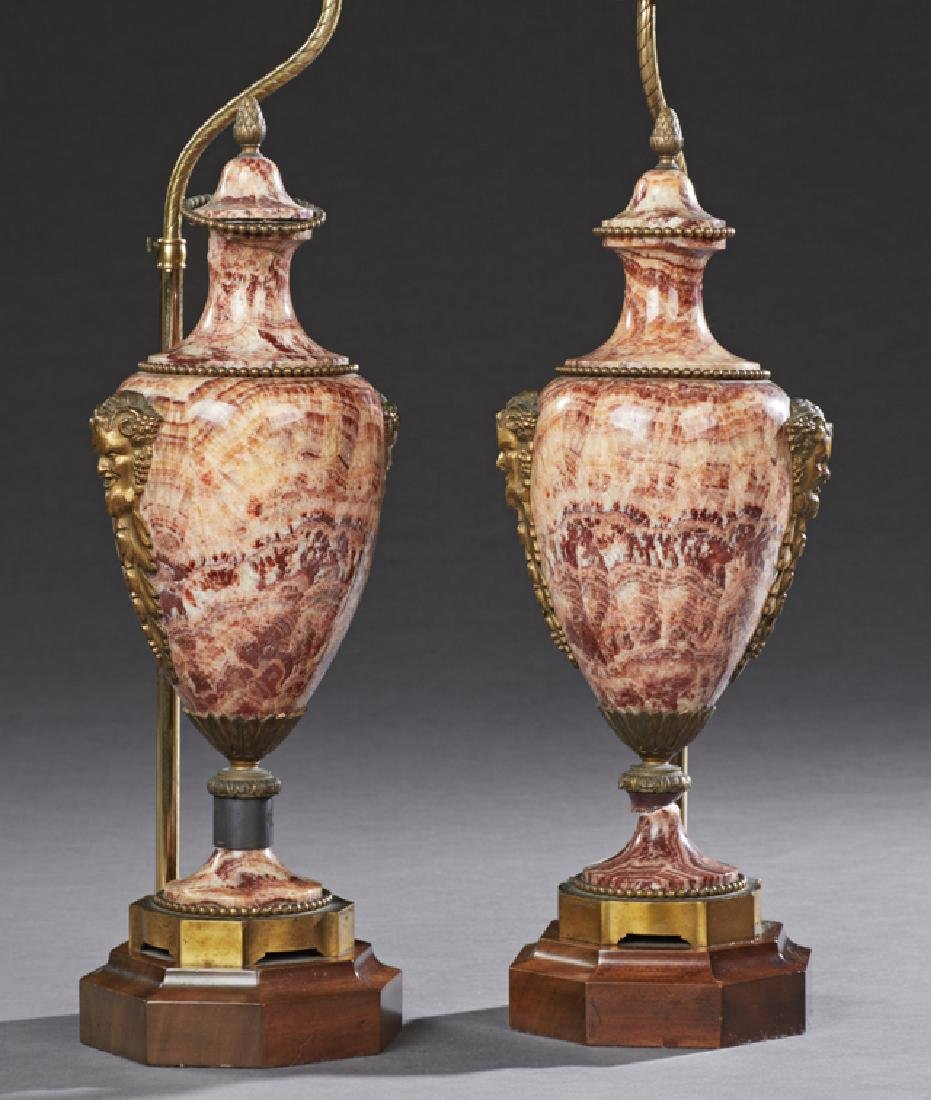Pair of French Bronze Mounted Covered Marble Urns,