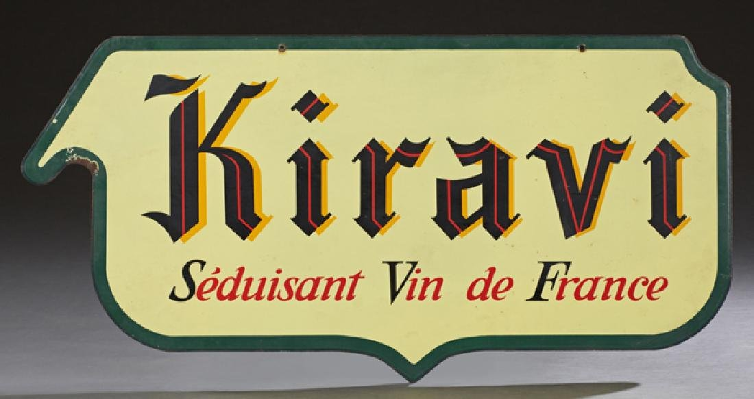 French Double Sided Enamel Advertising Sign, 20th c.,