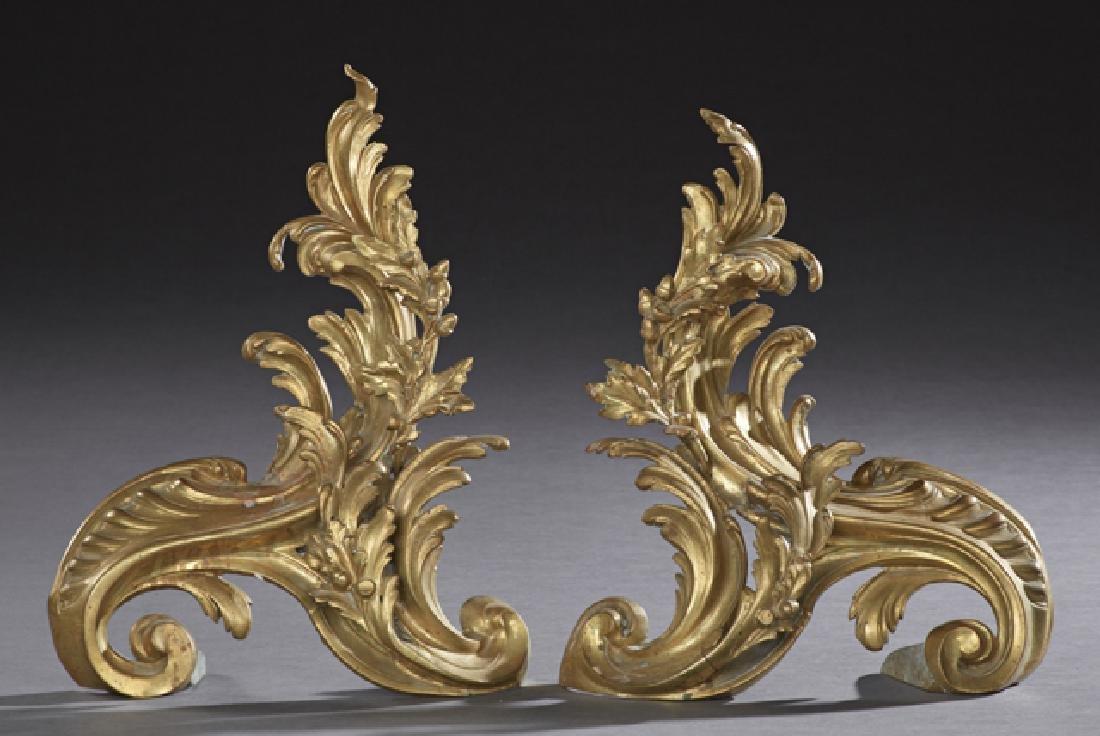 Pair of French Gilt Bronze Art Nouveau Chenets, c.