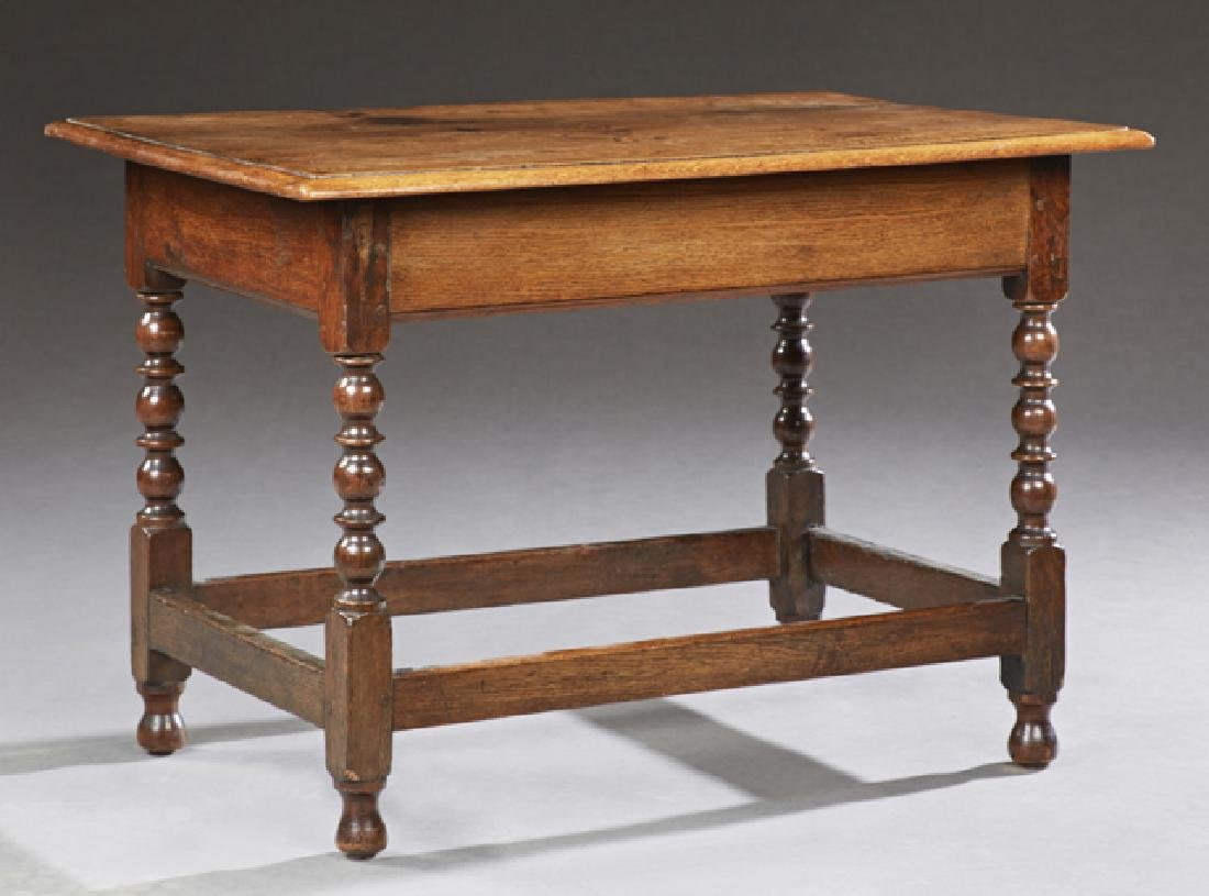 French Carved Oak Coffee Table, 20th c., the stepped