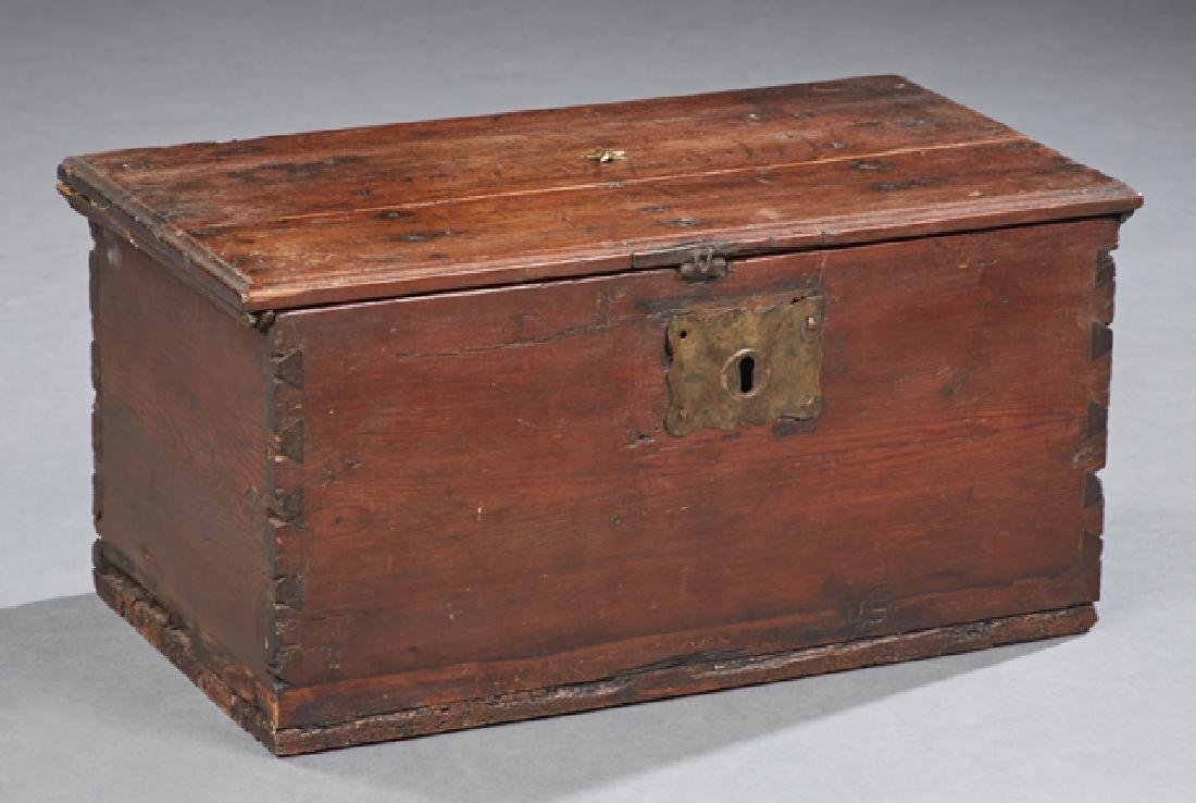 Officer's Carved Pine Chest, early 19th c., with iron