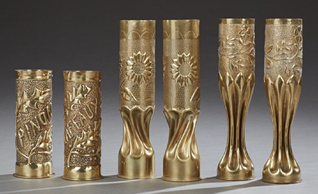 Group of Six Brass Trench Art Cases, c. 1918,