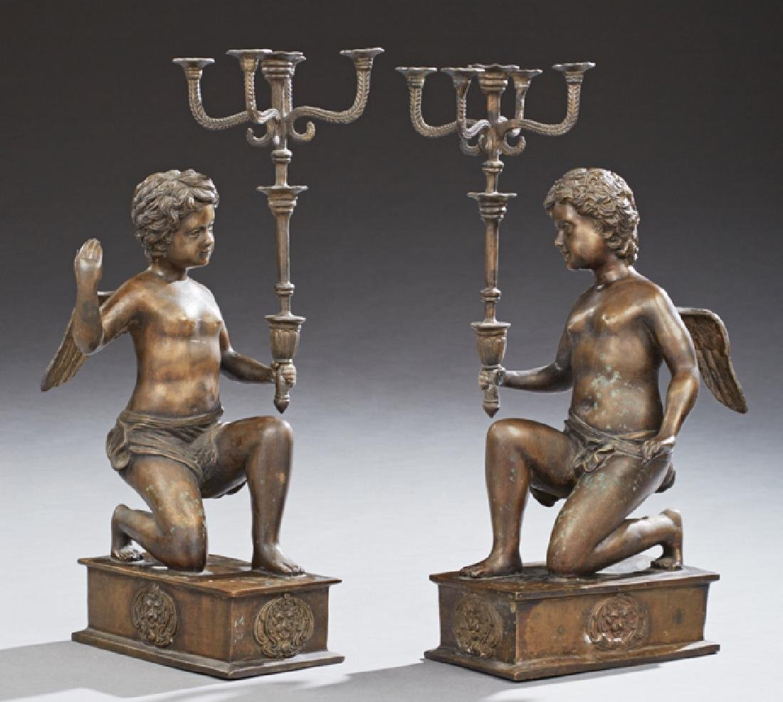 Pair of Patinated Bronze Five Light Candelabra, 20th