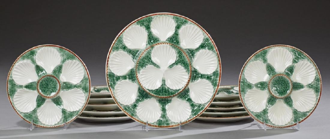 French Thirteen Piece Ceramic Oyster Set, late 19th c.,