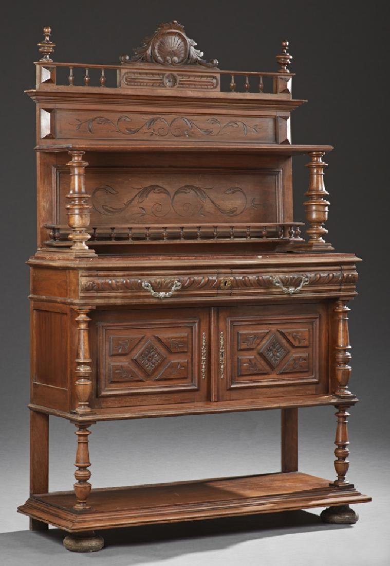 French Henri II Style Carved Walnut Marble Top Server,