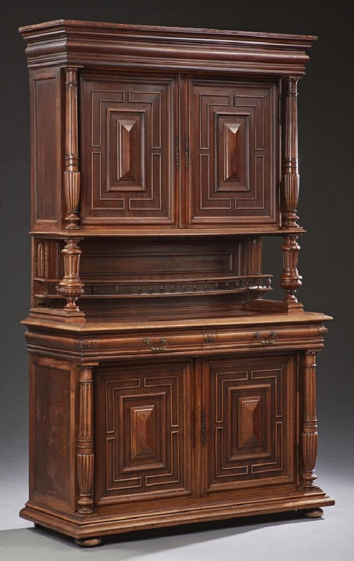 Henri II Style Carved Oak Buffet a Deux Corps, 19th c.,
