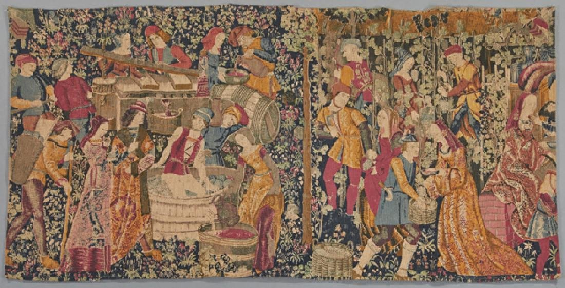 French Tapestry, 19th c., of a vineyard scene,