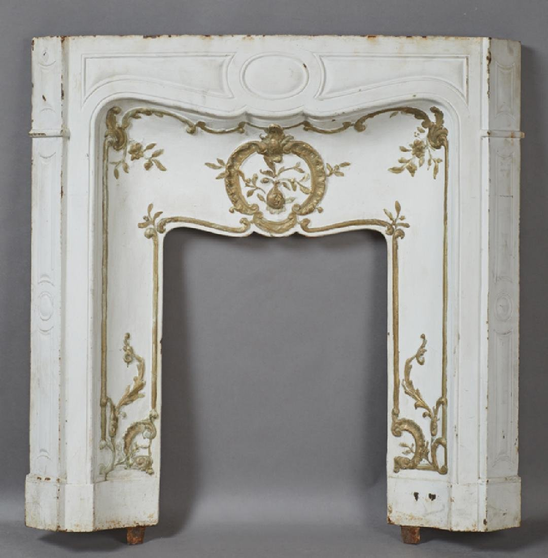 French Cast Iron Fireplace Front, 19th c.,