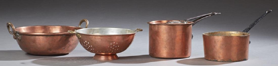 Group of Five Pieces of French Copper Cookware, early
