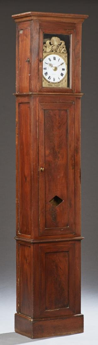 French Carved Cherry Tallcase Clock, 19th c., the ogee