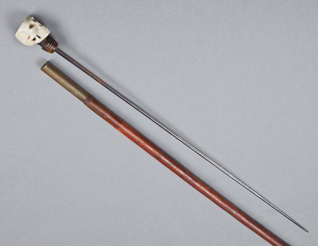 Bone Skeleton Handle Wood Cane, late 19th c., - 2