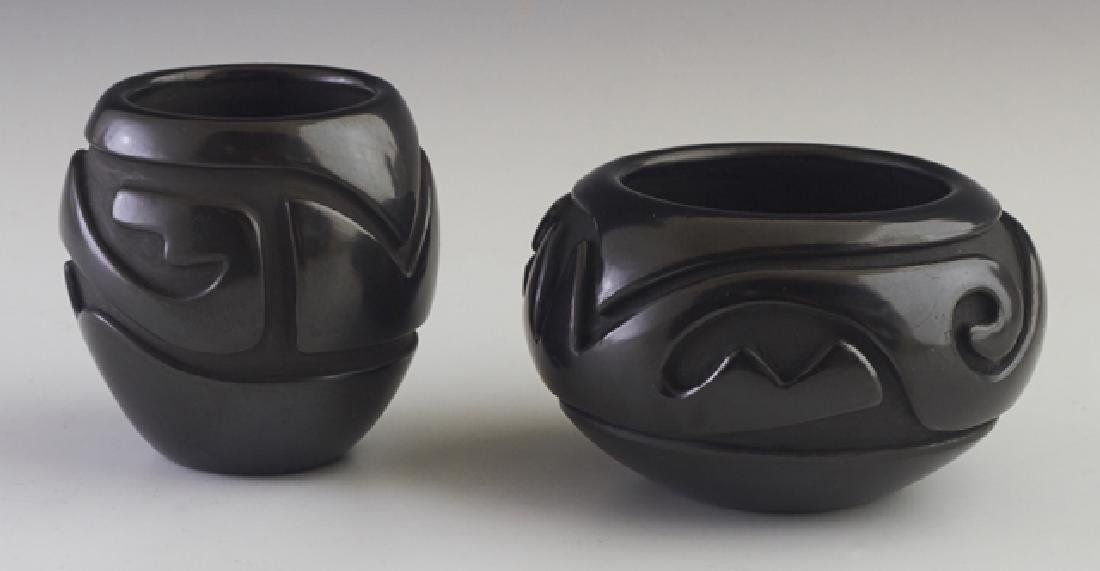 Two Santa Clara Pottery Black Bowls, 20th c., one