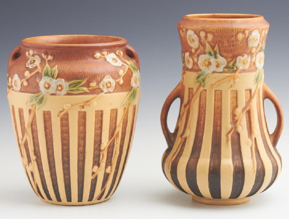 Two Roseville Cherry Blossom Vases, c. 1932, one 8-624